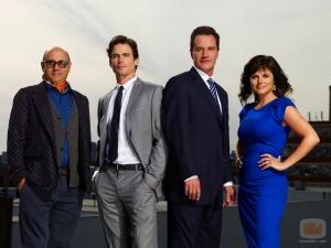Willie Garson, Matt Bomer, Tim DeKay & Tiffani Thiessen (source: USA)