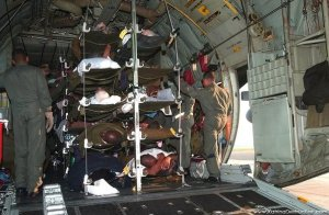 Patient transportation in a Hercules C-130. I was racked second from the top (note this is not of me). (source: Illinois Photo).